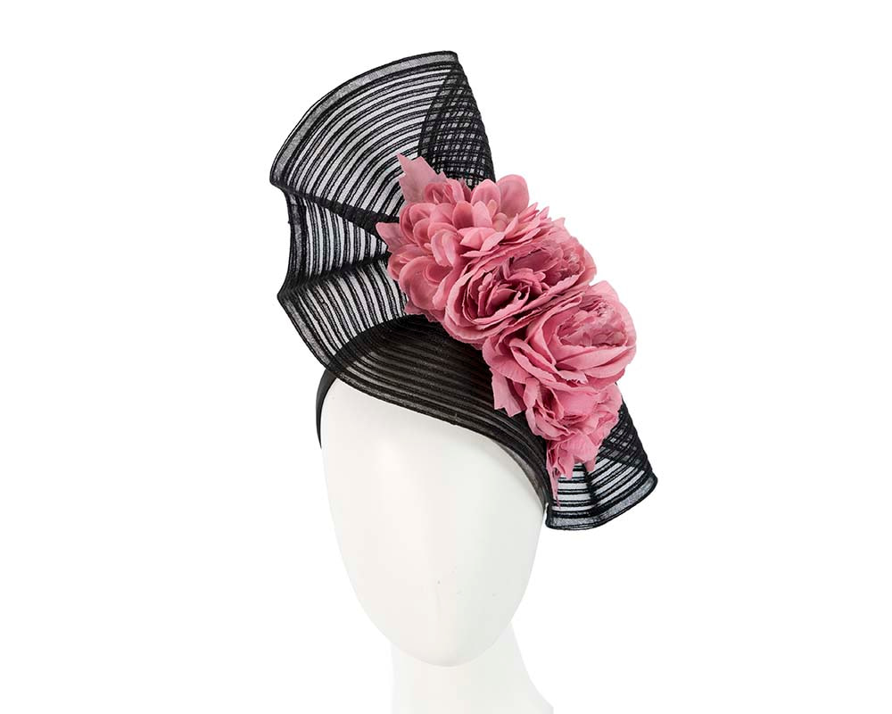 Large black & pink racing fascinator with flowers by Fillies Collection