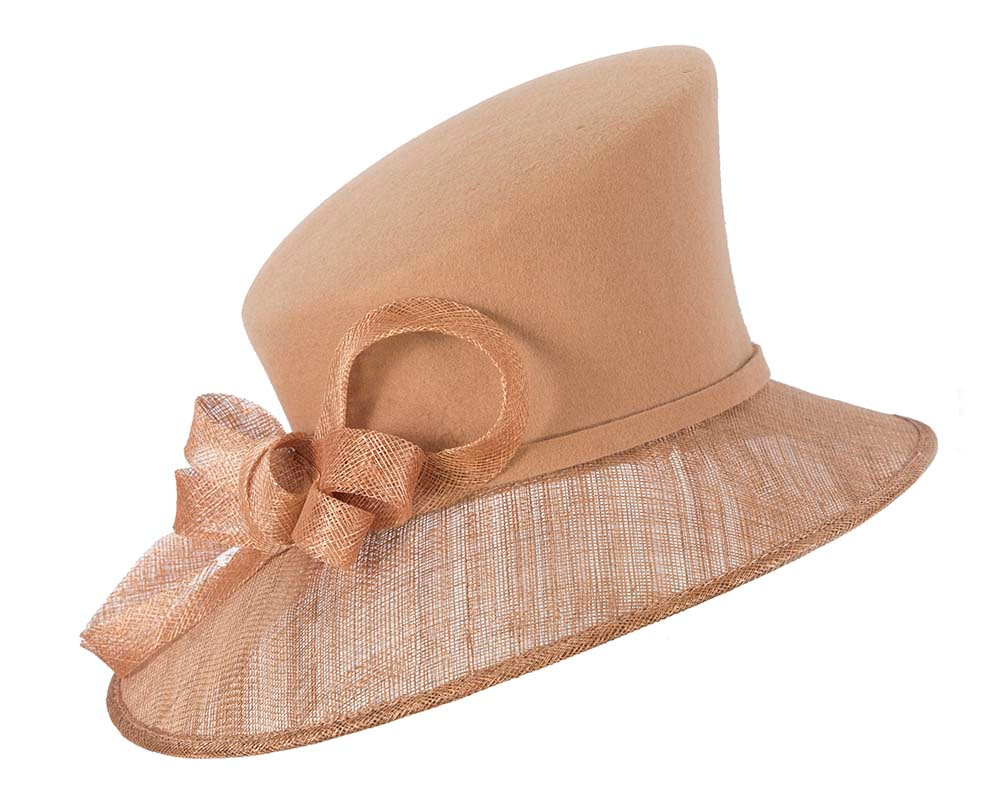 Gold ladies winter fashion hat by Cupids Millinery