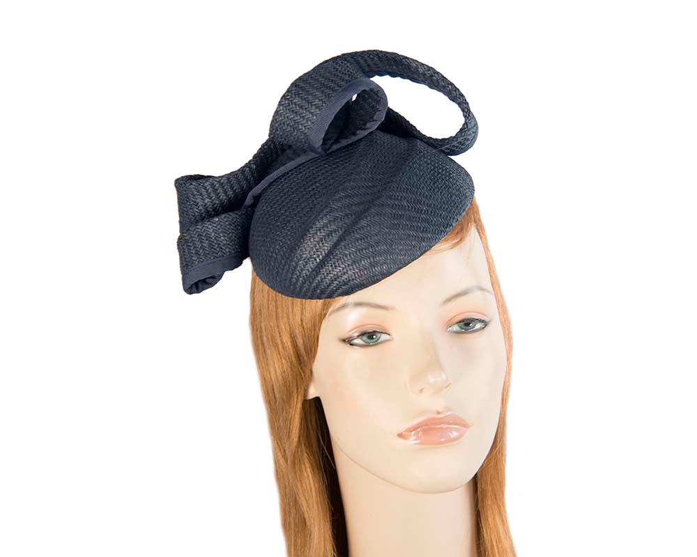Navy pillbox fascinator by Max Alexander