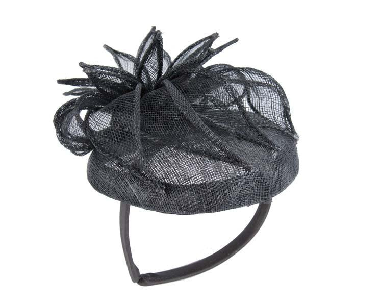 Black sinamay flower fascinator for Melbourne Cup races by Max Alexander MA683B