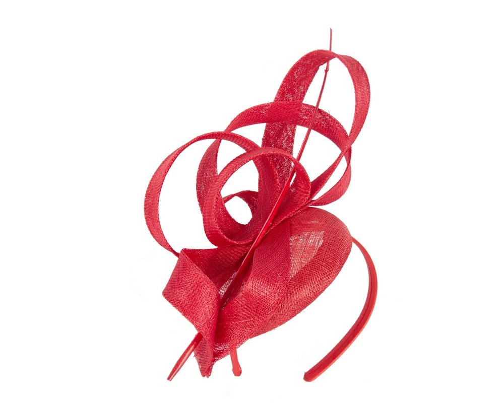 Edgy tall red fascinator