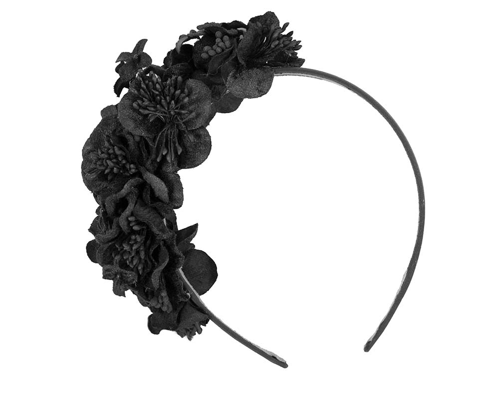 Black flower headband racing fascinator