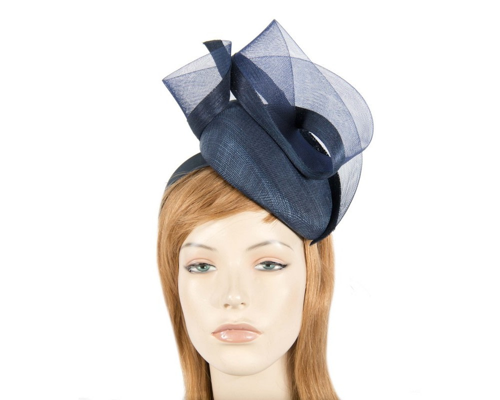 Tall navy pillbox fascinator