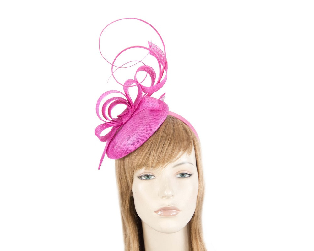 Tall fuchsia sinamay racing fascinator by Max Alexander