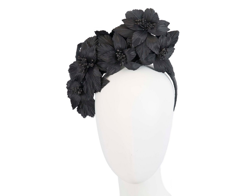 Black sculptured flower headband fascinator by Fillies Collection