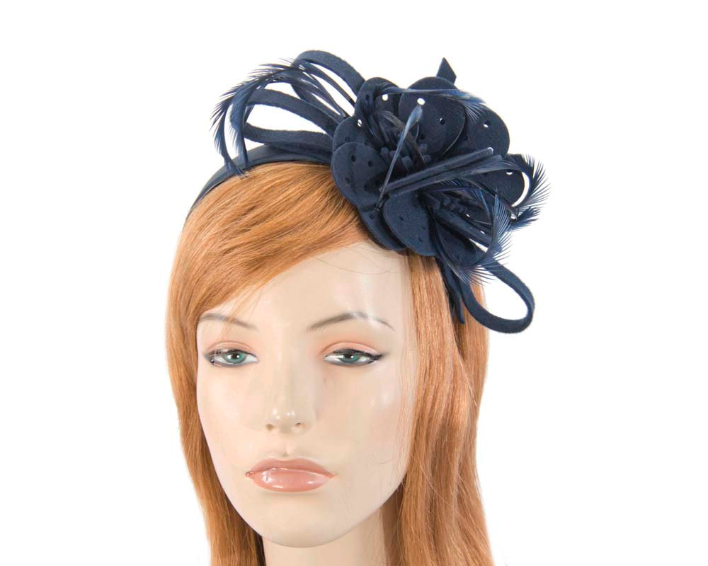 Navy felt flower winter fascinator