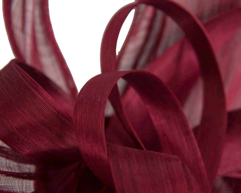Large burgundy wine silk abaca heart fascinator