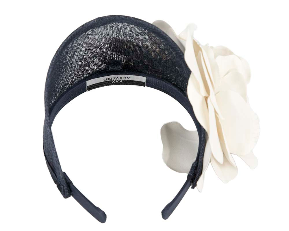 Wide navy and cream leather rose headband fascinator by Max Alexander