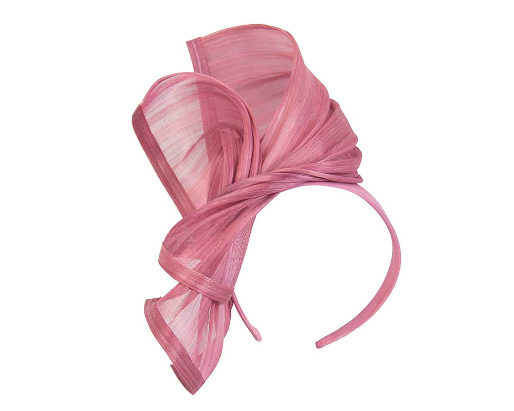 Bespoke dusty pink silk abaca racing fascinator by Fillies Collection