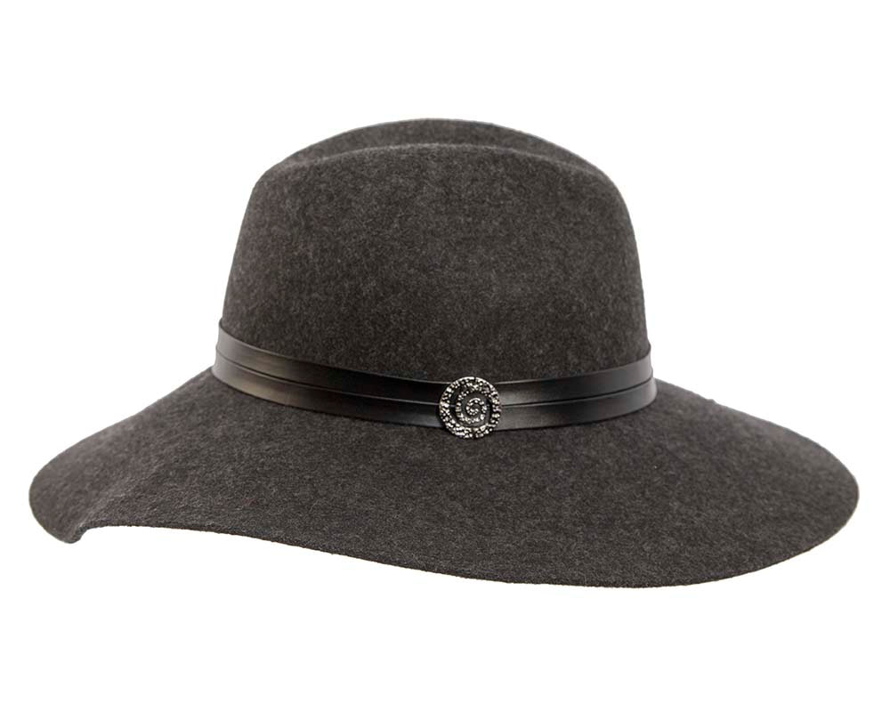 Wide brim charcoal fedora hat by Cupids Millinery Melbourne