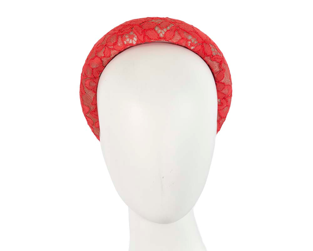 Bright coral headband by Cupids Millinery Melbourne