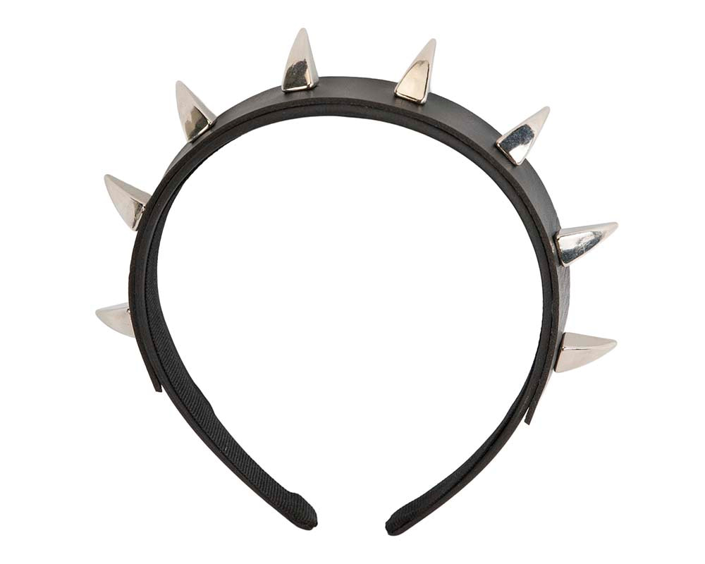 Black crown fascinator with metal spikes