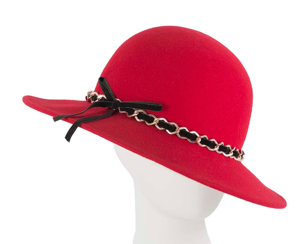 Red winter wide brim fashion trilby hat by Cupids Millinery Melbourne