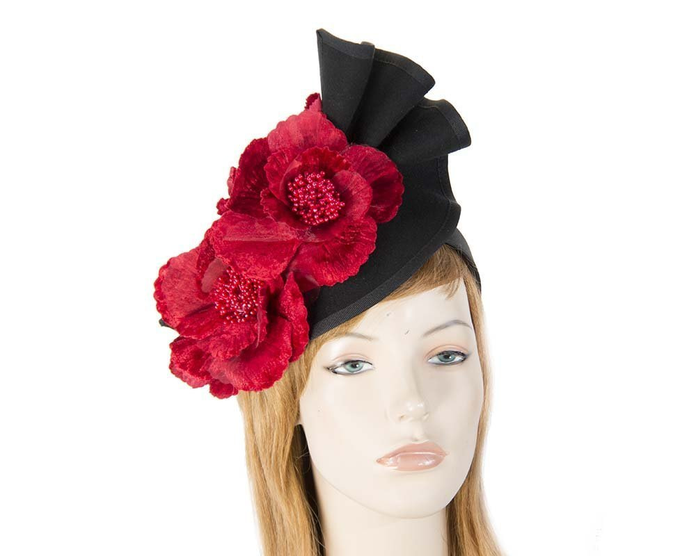Large black felt red flower fascinator F591BR