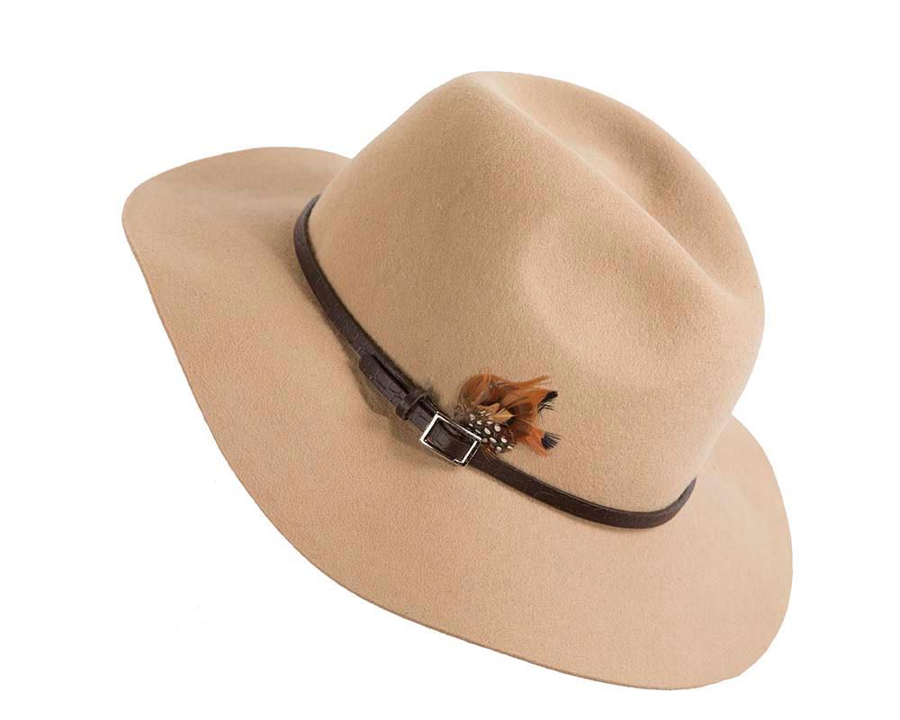 Wide brim beige fedora hat by Cupids Millinery Melbourne