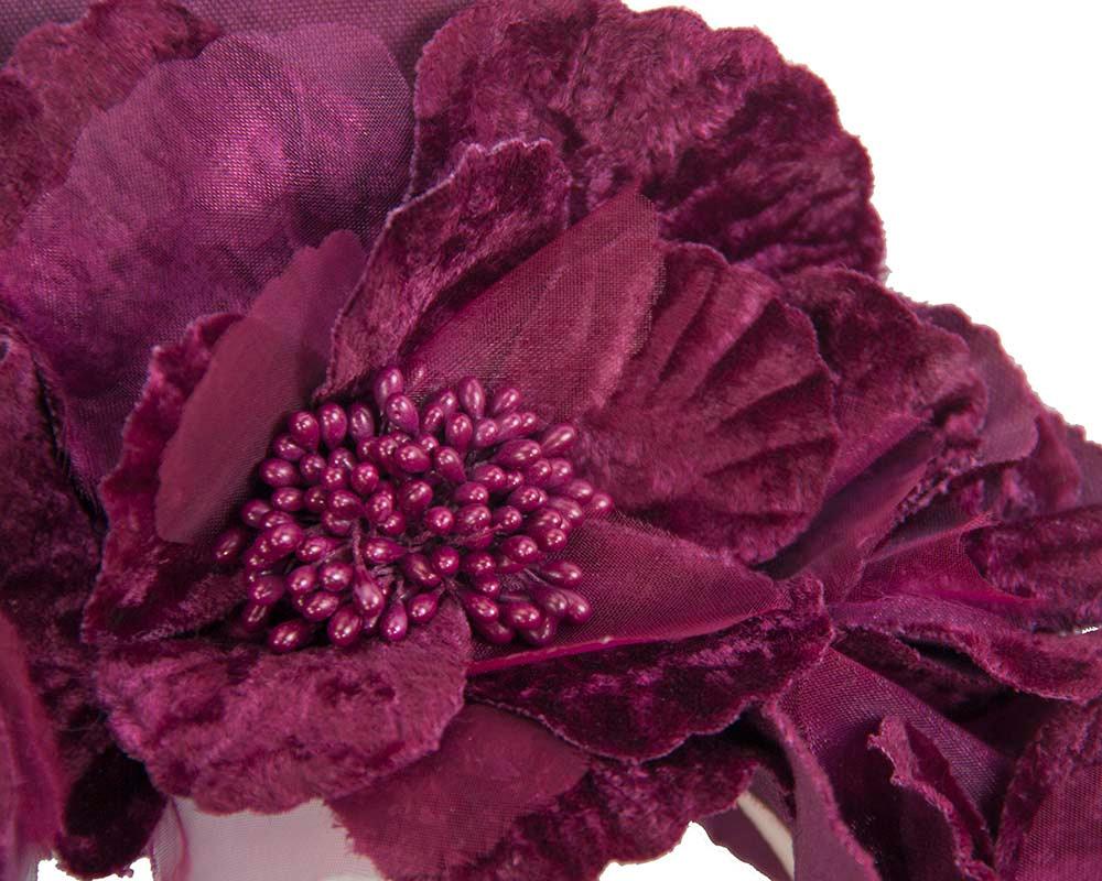 Wine flower halo fascinator