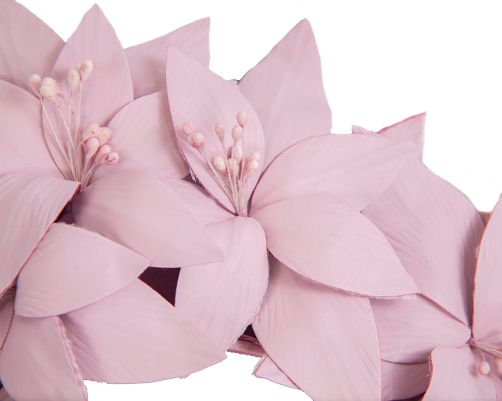Lilac leather flower headband fascinator by Fillies Collection