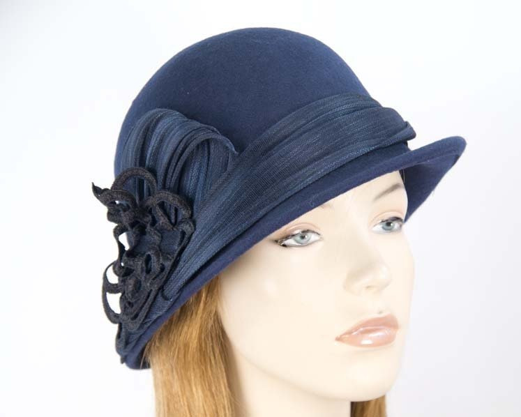 Navy ladies fashion felt bucket hat by Fillies Collection