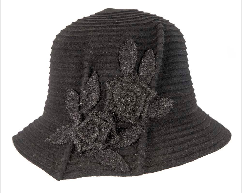 Black soft wool felt ladies fashion hat