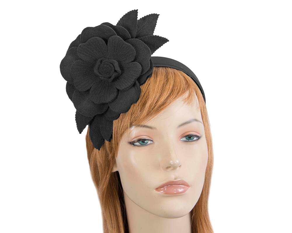 Black felt flower fascinator by Max Alexander