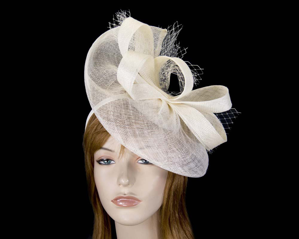 Large cream sinamay racing fascinator by Max Alexander