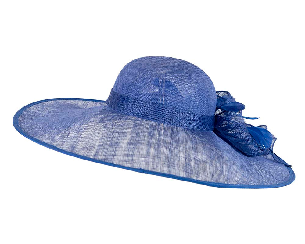 Large Royal Blue Ladies Fashion Racing Hat by Cupids Millinery