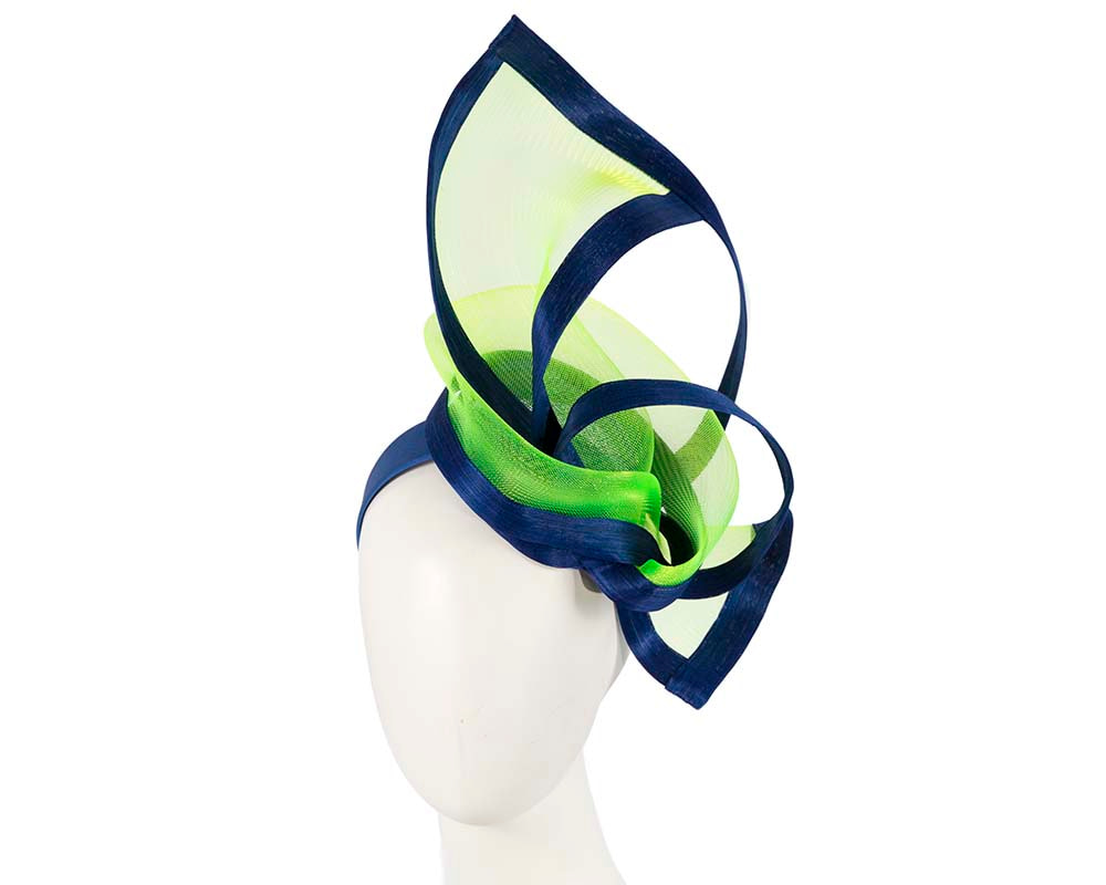 Lime and blue edgy racing fascinator by Fillies Collection