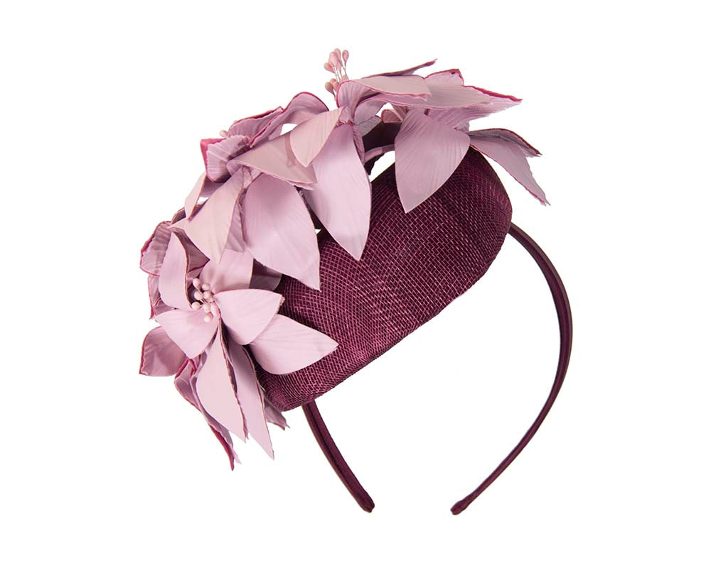 Wine & pink pillbox with leather flowers by Fillies Collection