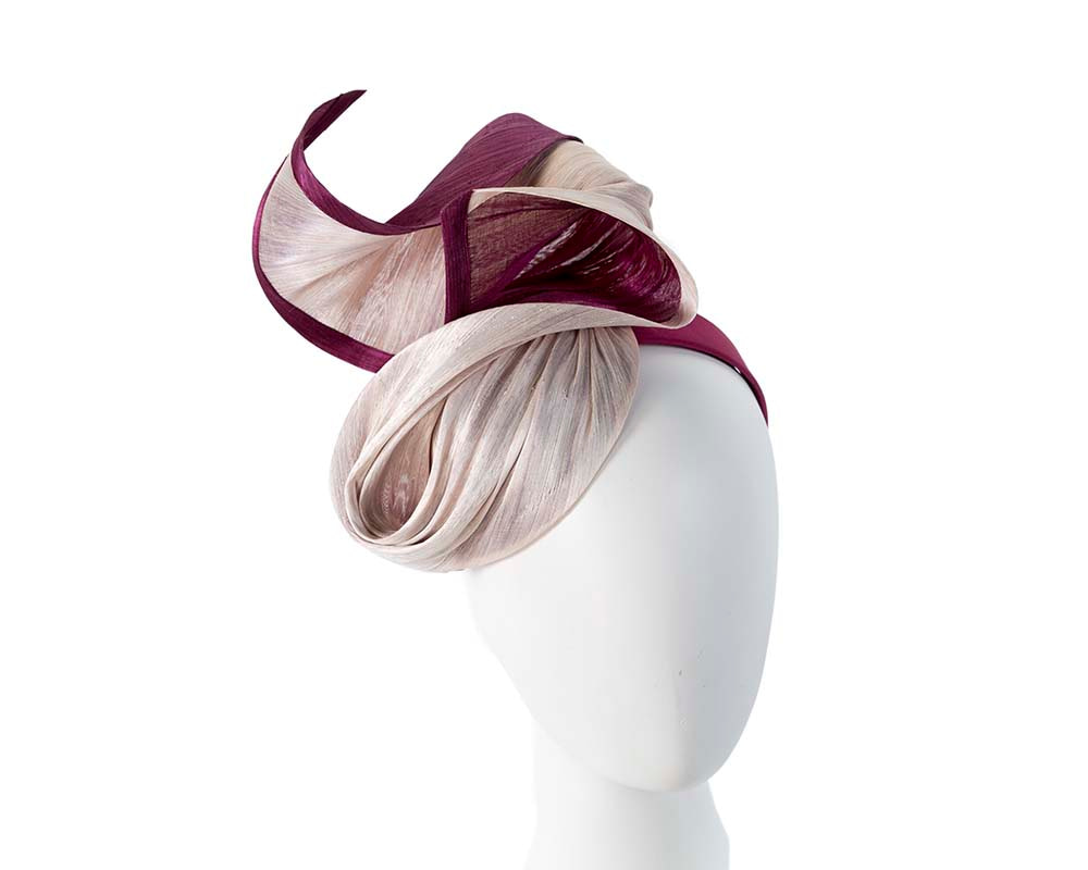 Pink & Wine designers fascinator for Melbourne Cup Ascot races