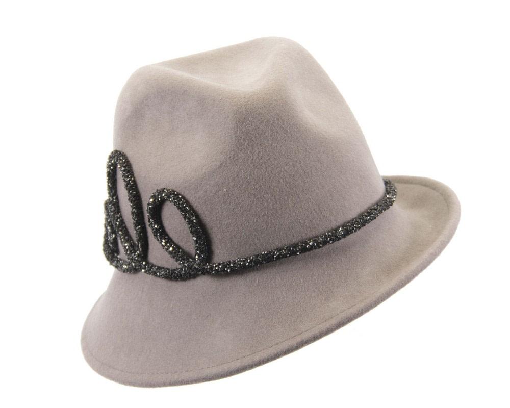 Designers grey felt ladies fedora hat