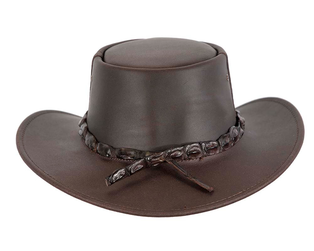 Australian Leather Outback Jacaru Hat with Crocodile Teeth