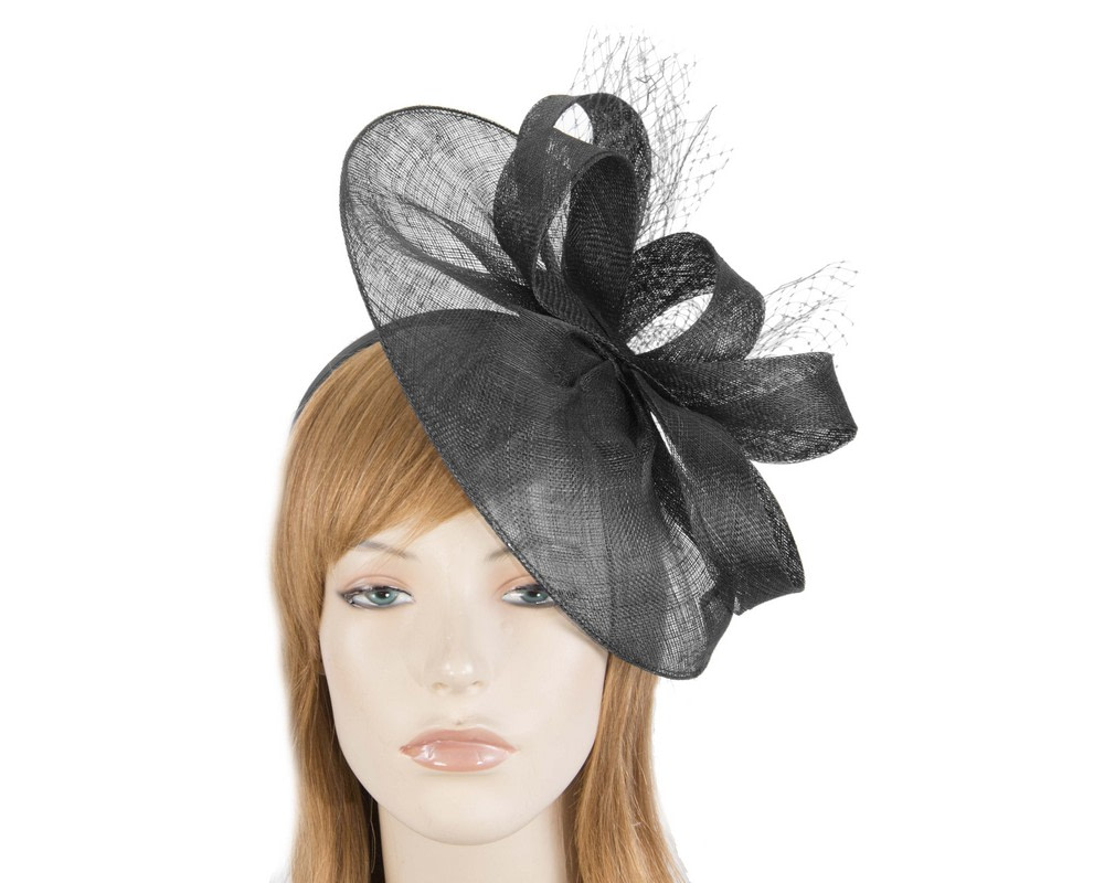 Large black sinamay racing fascinator by Max Alexander