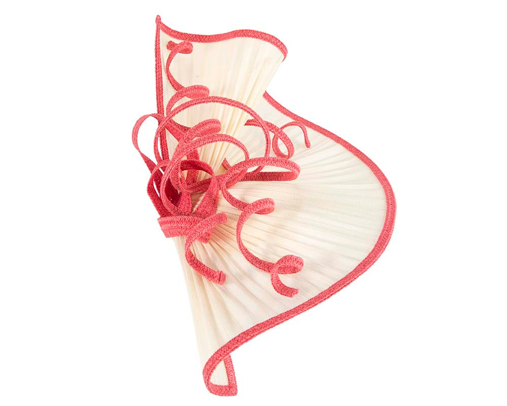 Large cream and coral jinsin racing fascinator by Fillies Collection