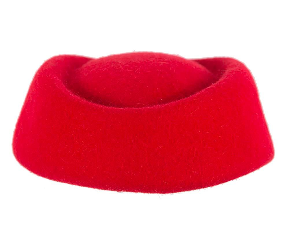 Red winter felt stewardess hat by Cupids Millinery