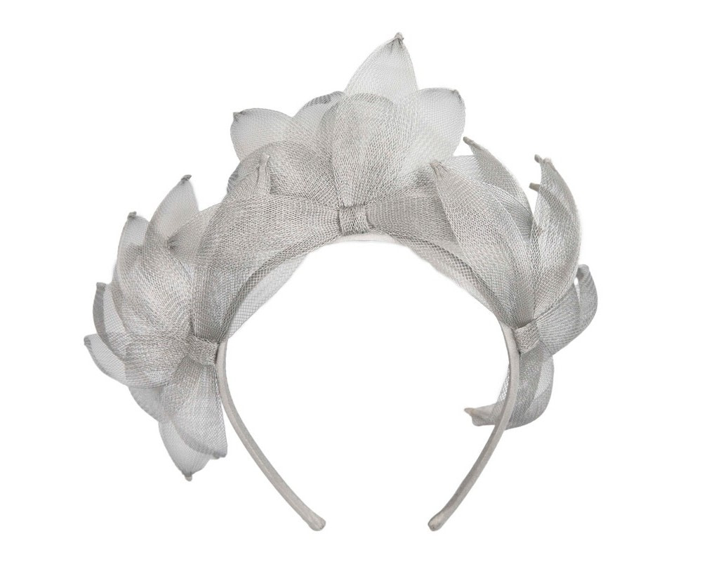 Silver crinoline crown fascinator by Max Alexander