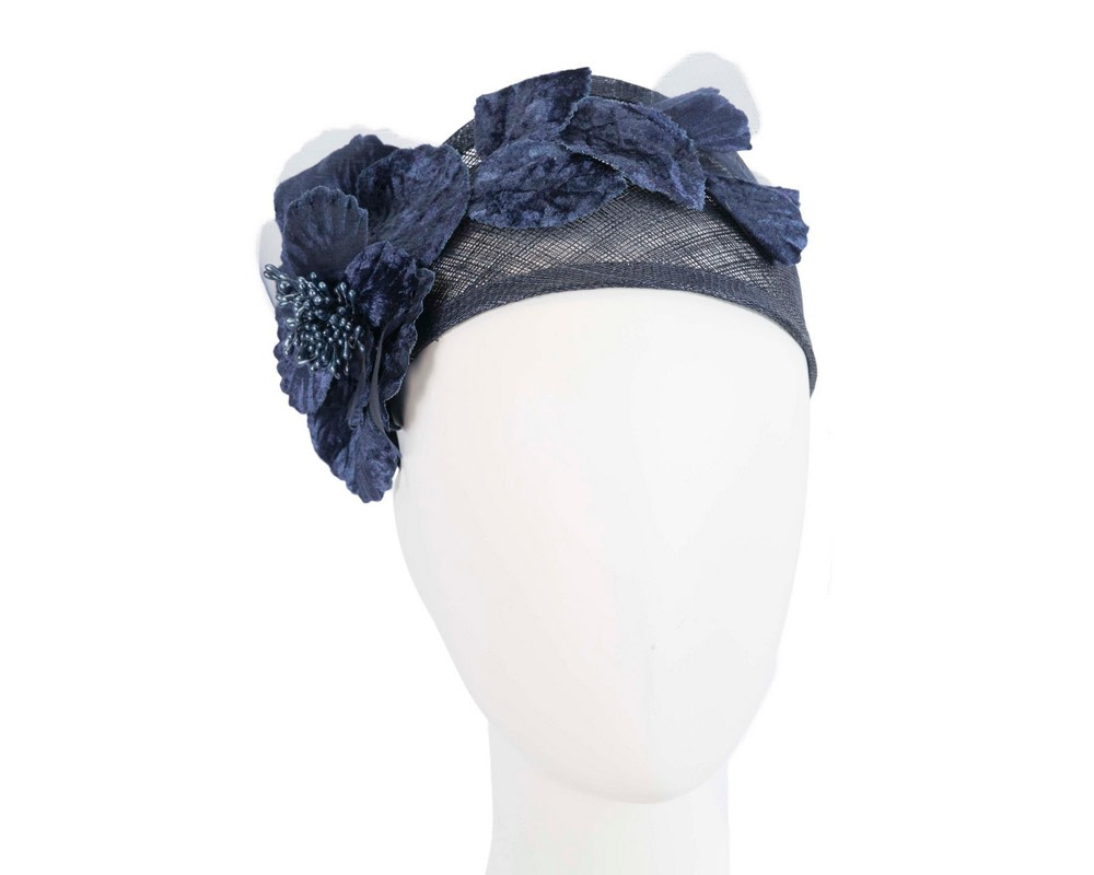 Wide navy flower headband fascinator by Max Alexander