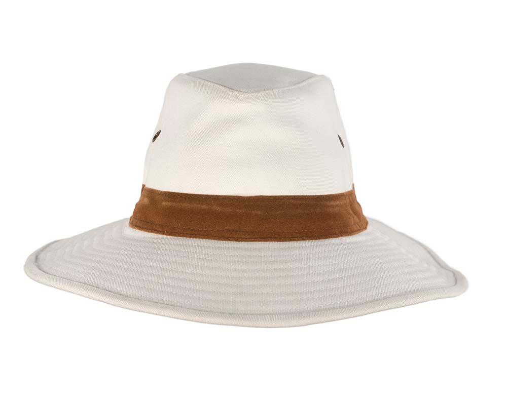 White cotton ladies summer fedora hat UPF50+