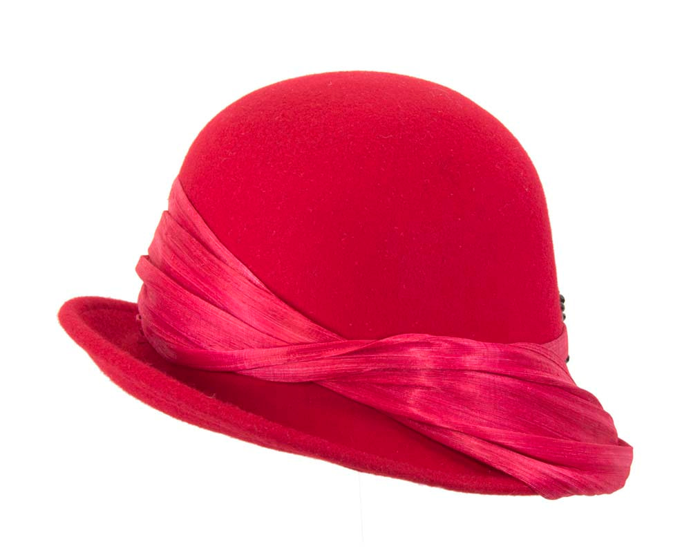 Red felt draped cloche hat
