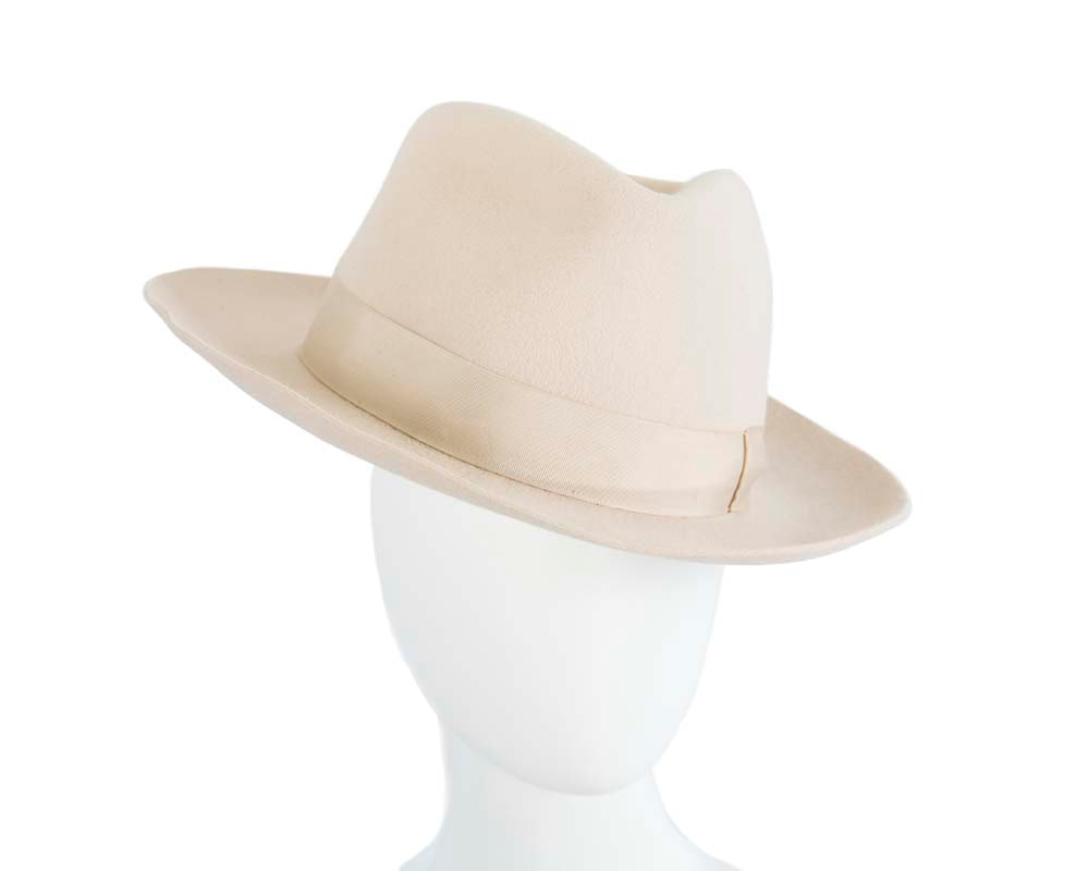 Cream wide brim rabbit fur fedora hat