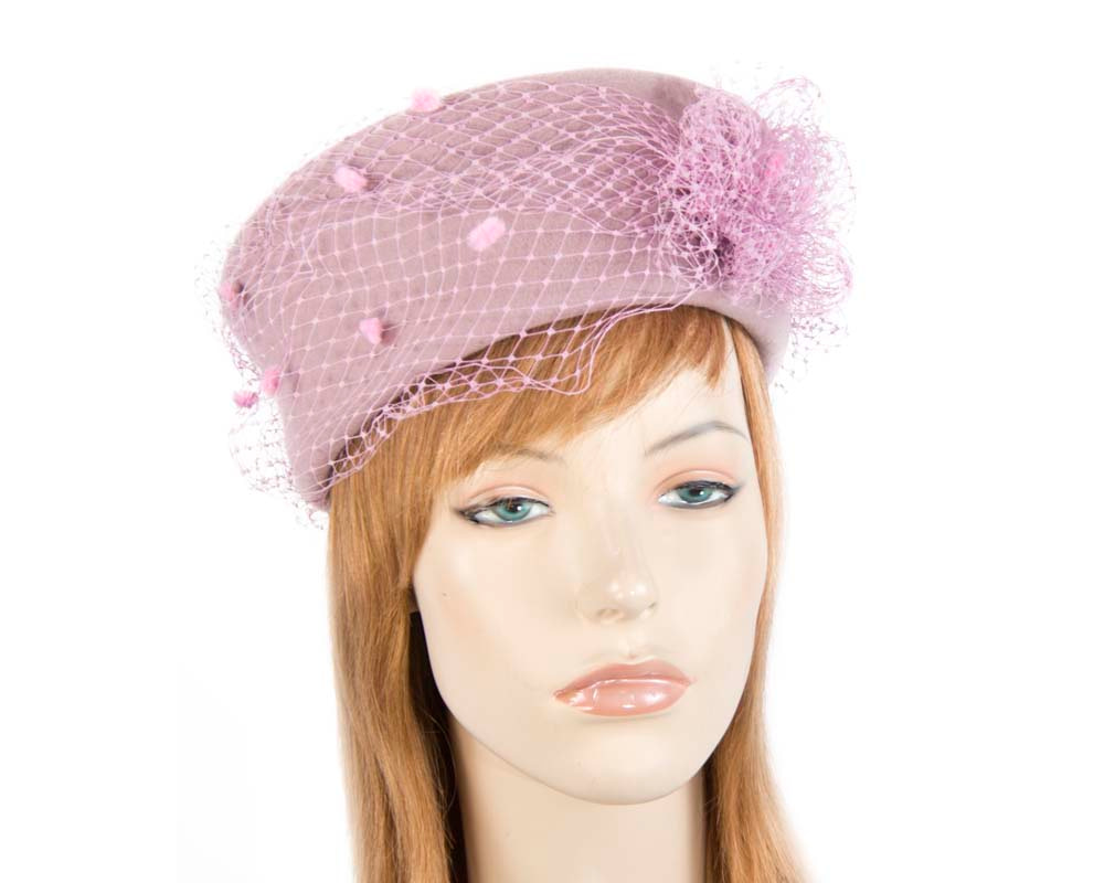 Large dusty pink felt beret hat