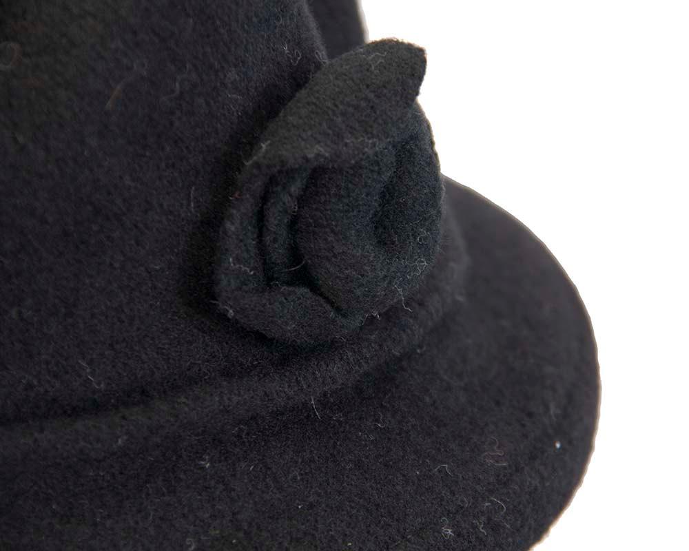Warm black winter bucket hat with flower by Max Alexander
