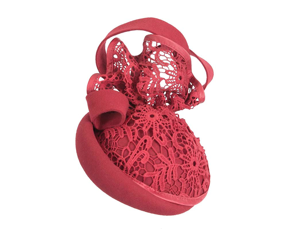 Red felt & lace winter racing fascinator