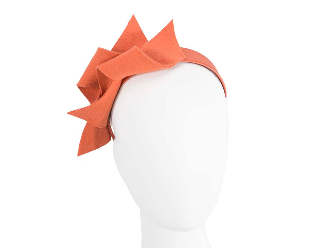 Burnt orange felt twisted fascinator headband by Max Alexander