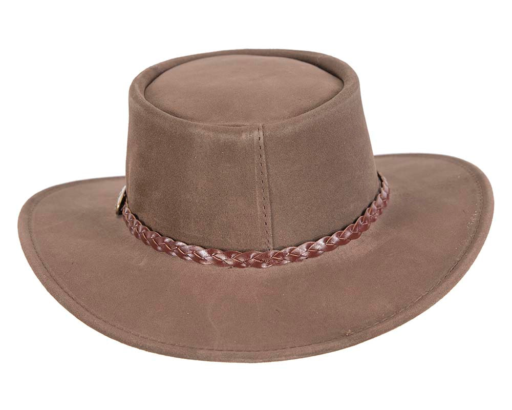 Brown Australian Leather Bush Outback Jacaru Hat