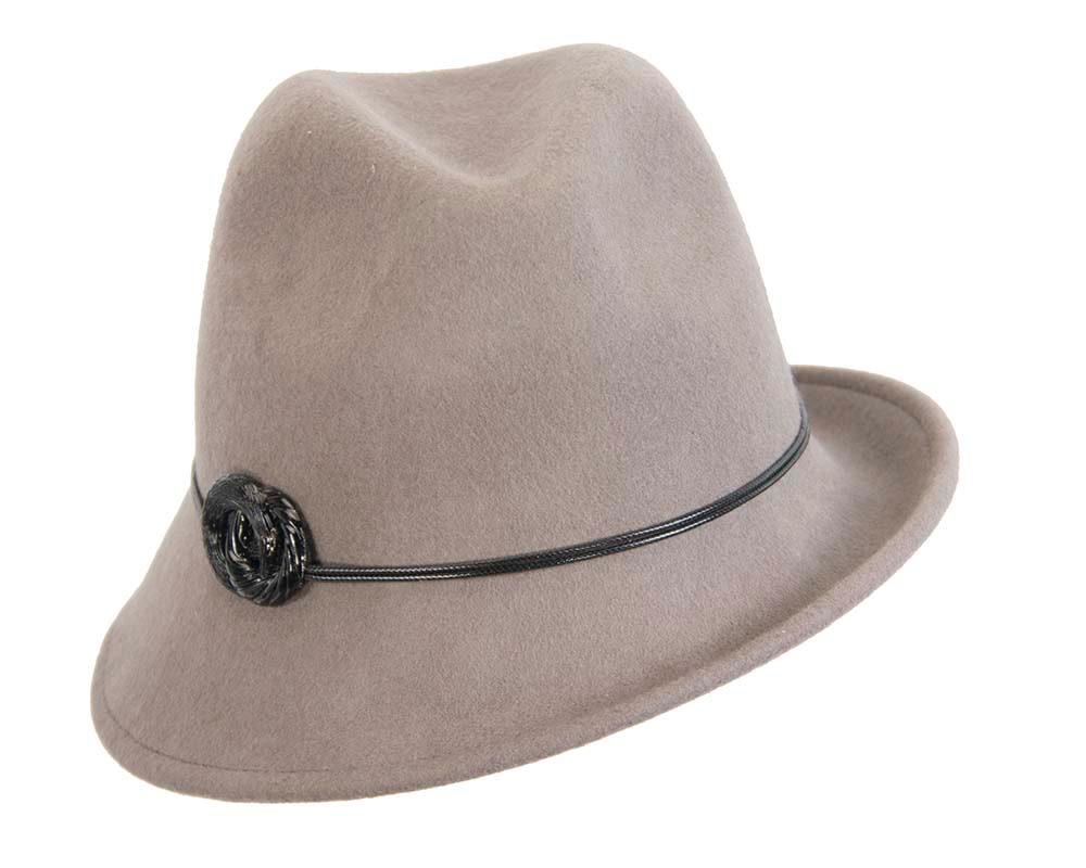 Grey ladies fashion felt trilby hat by Max Alexander
