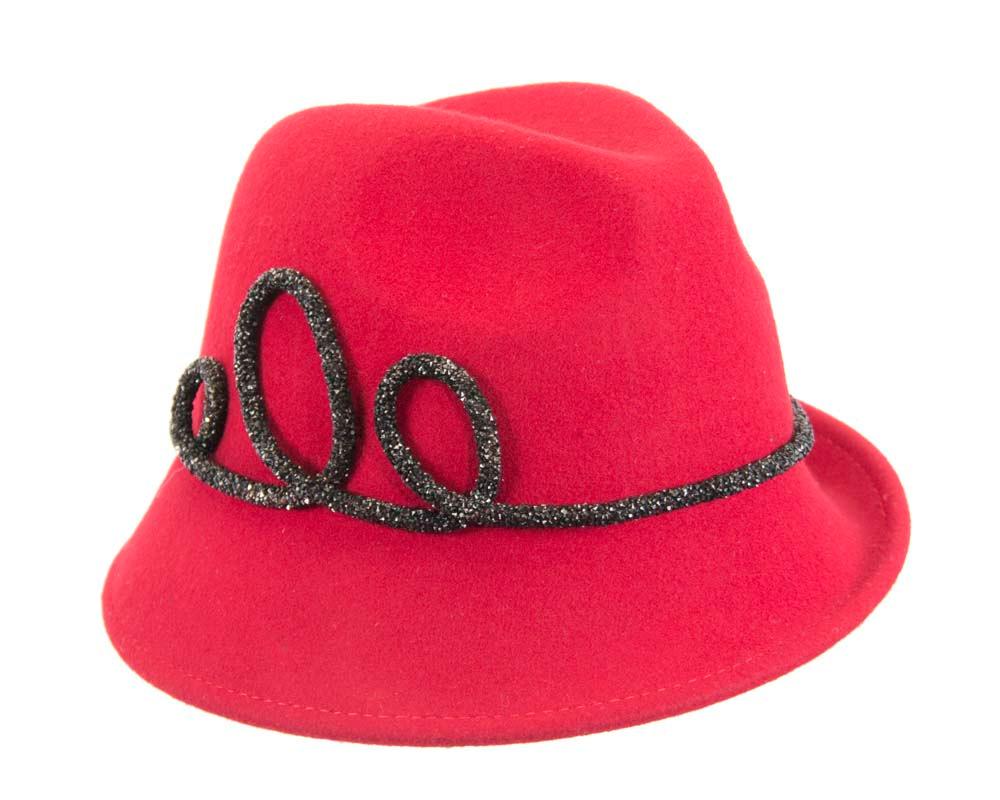 Designers red felt ladies fedora hat