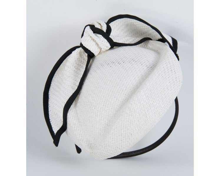 White & black pillbox with bow