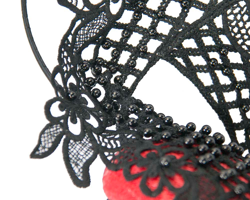 Red & black racing fascinator with beaded lace by Fillies Collection
