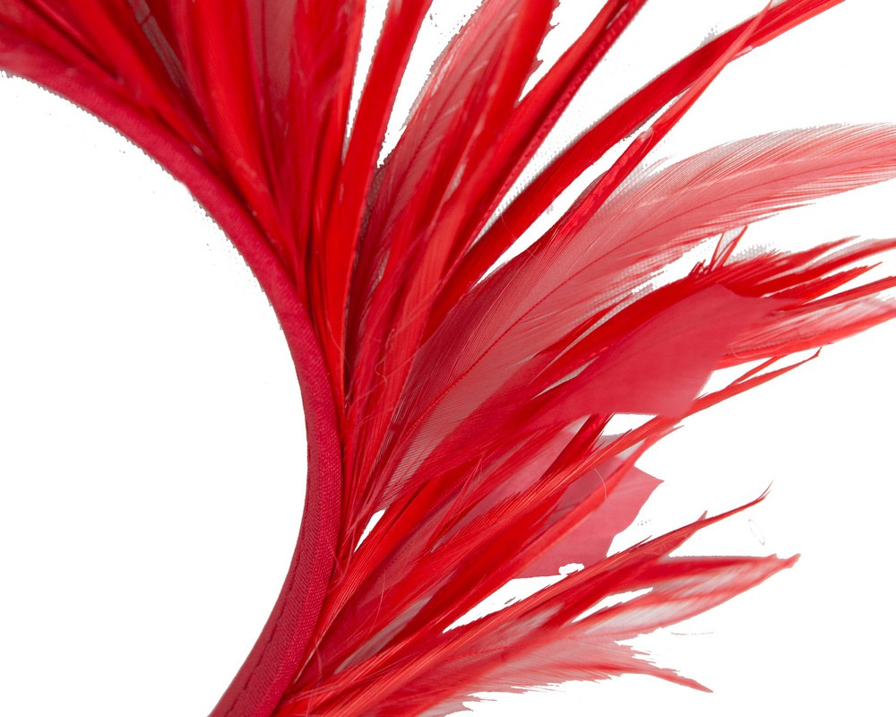 Red feather crown fascinator by Max Alexander