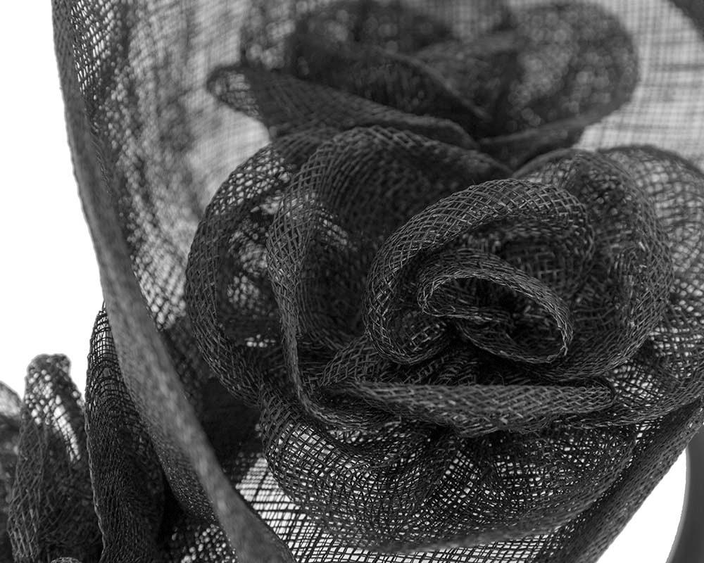 Tall black sinamay fascinator by Max Alexander